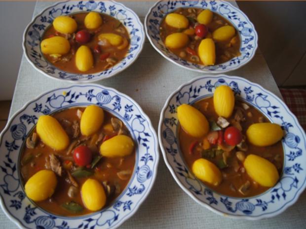 Schweinefiletcurry mit Gemüsemix im Wok und Drillinge - Rezept - Bild Nr. 9853