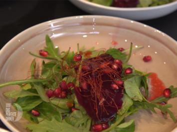 Gefüllte Manti mal anders auf Rote-Bete-Carpaccio und Salatbett - Rezept - Bild Nr. 2
