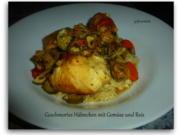 Geschmortes Hähnchen mit Gemüse und Reis - Rezept - Bild Nr. 2