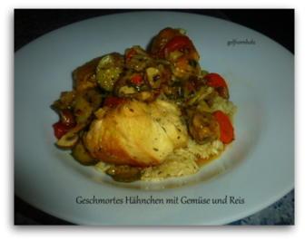 Rezept: Geschmortes Hähnchen mit Gemüse und Reis