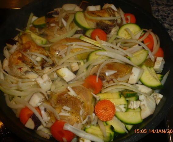 Geschmortes Hähnchen mit Gemüse und Reis - Rezept - Bild Nr. 4