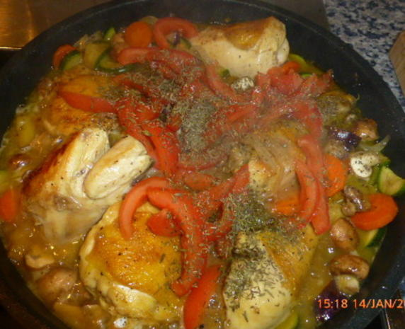 Geschmortes Hähnchen mit Gemüse und Reis - Rezept - Bild Nr. 6