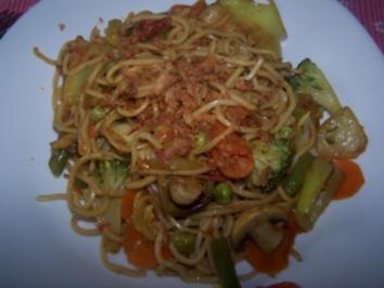 gebratene chinesische Nudeln mit Gemüse - Rezept