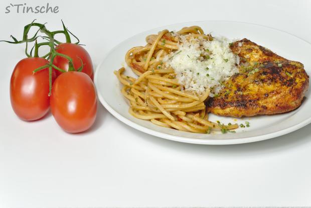 Maishähnchenbrust mit Tomatenspaghetti - Rezept - Bild Nr. 3