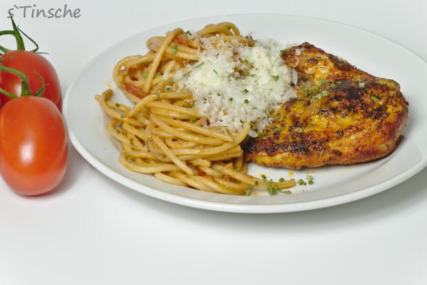 Maishähnchenbrust mit Tomatenspaghetti - Rezept - Bild Nr. 4
