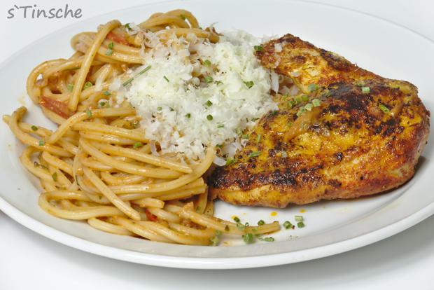 Maishähnchenbrust mit Tomatenspaghetti - Rezept - Bild Nr. 5