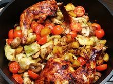 Hähnchenkeulen mit Kartoffeln und Gemüse aus dem Backofen - Rezept - Bild Nr. 2