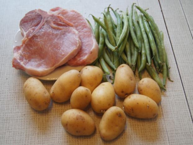 Panierte Lummer-Koteletts mit Buschbohnen und Drillingen - Rezept - Bild Nr. 3