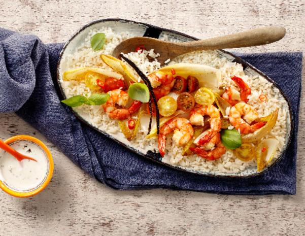 Gebratene Garnelen mit Chicorée und bunten Tomaten - Rezept - Bild Nr. 2