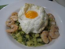 """Spinat-Kartoffelsotto mit """"Wolken-Ei"""" und Shrimps - Rezept - Bild Nr. 2"""