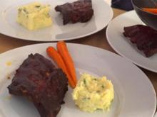 BBQ Spare Ribs mit Knoblauchstampf und Baby-Karotten - Rezept - Bild Nr. 3