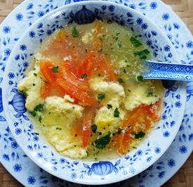 Eierstichsuppe mit Tomaten - Fan Qie Dan Hua Tang - Rezept - Bild Nr. 2