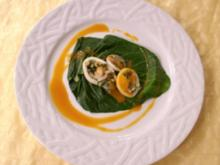 Gefüllte Calamari mit Mangold und Gambas an Cognacsoße - Rezept