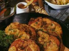 Zwiebel-Fleischkäse mit Senfhaube - Rezept