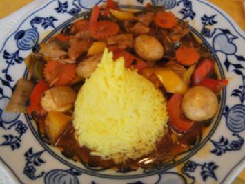 Putenbrustfilet mit Gemüse süß-sauer im Wok und gelber Basmatireis - Rezept - Bild Nr. 2