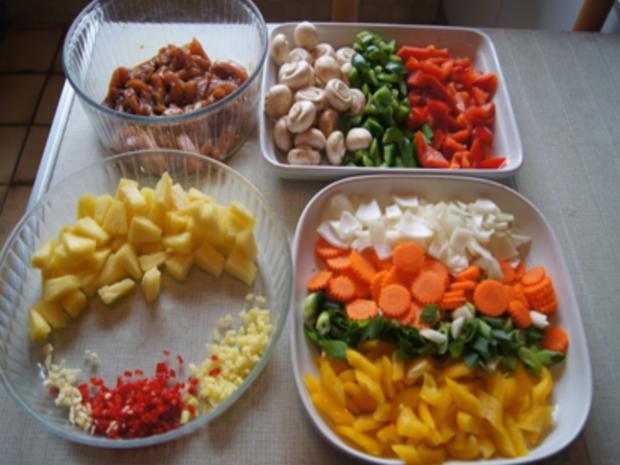 Putenbrustfilet mit Gemüse süß-sauer im Wok und gelber Basmatireis - Rezept - Bild Nr. 15