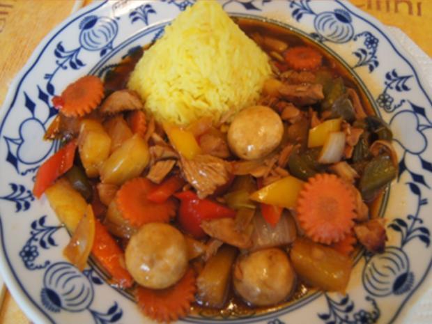 Putenbrustfilet mit Gemüse süß-sauer im Wok und gelber Basmatireis - Rezept - Bild Nr. 36