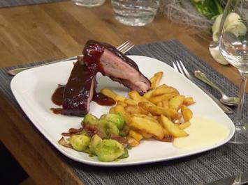 Spare Ribs mit Rosmarin Fries und Bacon-Rosenkohl - Rezept - Bild Nr. 9887