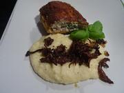 Hühnerbrust-Filet gefüllt, im Parmesan-Mantel, cremiger Polenta und Pilz-Topping - Rezept - Bild Nr. 2