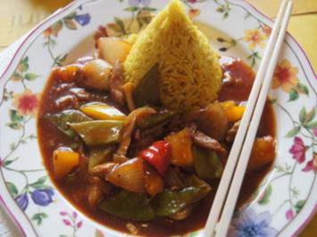 Rezept: Putenbrustfilet süß sauer mit Curryreis