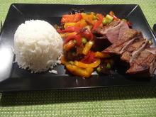 Gänsebrust mit asiatischem Wok-Gemüse und Reis - Rezept - Bild Nr. 9958