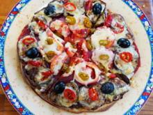 Schinkenpizza mit Auberginen und Tomaten - Rezept - Bild Nr. 3