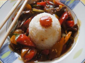 Asia-Wok mit Rindfleisch, Gemüse und Basmatireis - Rezept - Bild Nr. 2