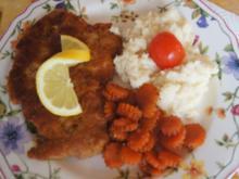 Nackensteak-Schnitzel mit Honig-Möhren-Blüten und Sellerie-Püree - Rezept - Bild Nr. 2