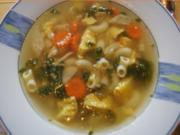 Suppe mit Hähnchenschenkel, Gemüse, Eierstich und Hörnchen Nudeln - Rezept - Bild Nr. 2