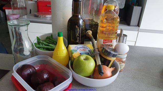 Puttespraline serviert auf Rote Bete Bohnensalat und Apfelchutney - Rezept - Bild Nr. 10034