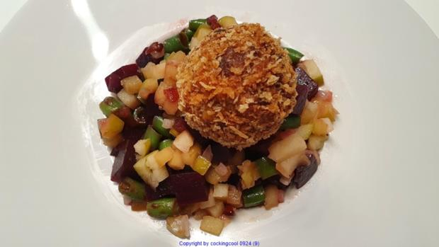 Puttespraline serviert auf Rote Bete Bohnensalat und Apfelchutney - Rezept - Bild Nr. 10039
