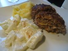 Frikadellen-Cordon bleu mit Schmand-Kohlrabi und Kartoffelstampf - Rezept - Bild Nr. 2