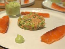 Duett vom Lachs an Avocado mit Hickory-Ei und Focaccia - Rezept - Bild Nr. 2