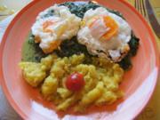Würziger Rahmspinat, frittierte Eier und Kartoffelstampf - Rezept - Bild Nr. 2