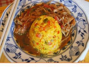 Gebratenes Hähnchenfleisch mit Mungoboh-nenkeimlingen und Gewürzreis - Rezept - Bild Nr. 2