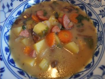 Kartoffelsuppe mit Steinpilzen und Cabanossi - Rezept - Bild Nr. 2