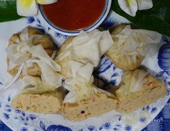 Gedämpfte Wan Tan gefüllt mit Hühnerfleisch und Krabben - Rezept - Bild Nr. 2