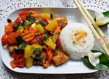 Hühnerfleisch mit süß-saurem Gemüse - Rezept - Bild Nr. 2