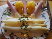 Frischer Spargel mit Sauce Hollandaise, gekochten Schinken und Kartoffelpilzen - Rezept - Bild Nr. 2