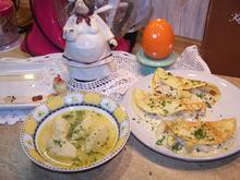 Butter- Grießnockerl-Suppe mit gefüllte Omeletten Spargel u. Champignon - Rezept - Bild Nr. 10165