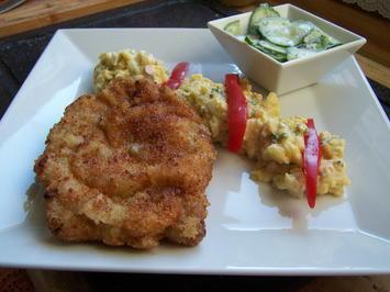 Schweinenacken-Schnitzel+Kartoffelsalat+Gurkensalat - Rezept - Bild Nr. 10228