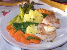 Driftete Erdäpfel mit Spinat und Schweinemedaillons +Spargel - Rezept - Bild Nr. 10236