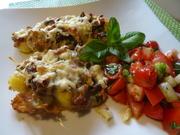 Gnocchi-Auflauf mit Pilzen und Bacon, dazu Tomatensalat mediterran - Rezept - Bild Nr. 2
