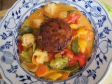 Herzhafte Hacksteaks mit Curry-Gemüsemix aus dem Wok - Rezept - Bild Nr. 2