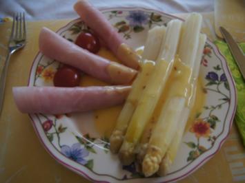 Spargel mit Orangen-Chili-Sauce und gekochter Schinken - Rezept - Bild Nr. 2