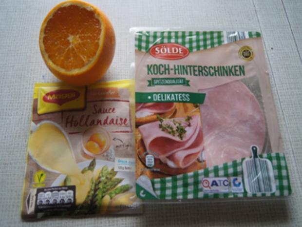 Spargel mit Orangen-Chili-Sauce und gekochter Schinken - Rezept - Bild Nr. 4