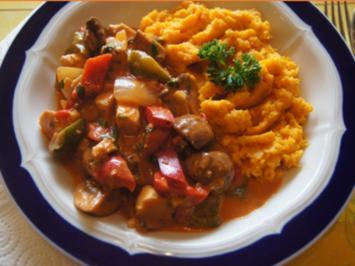 Hähnchenwok mit Gemüsemix und Süßkartoffelstampf - Rezept - Bild Nr. 2