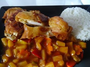 Gebackenes Huhn süß-sauer mit Jasminreis - Rezept - Bild Nr. 2