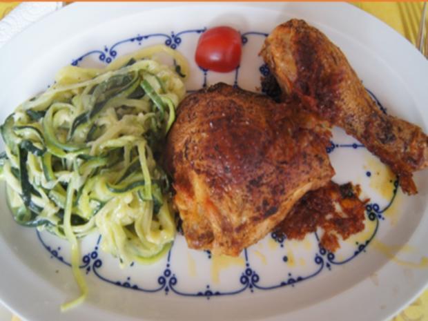 Gebratene Hähnchenkeulen mit Zucchini Spaghetti - Rezept - Bild Nr. 2
