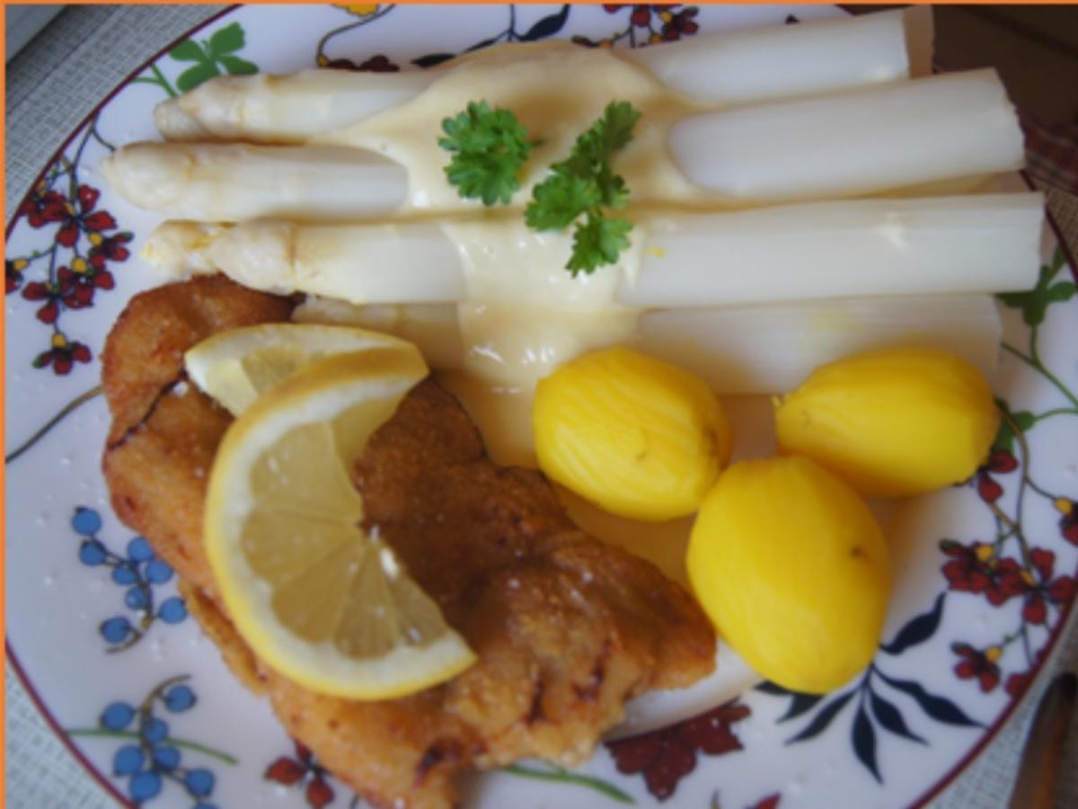 Spargel mit Käse-Sauce, Wiener Schnitzel vom Schwein und